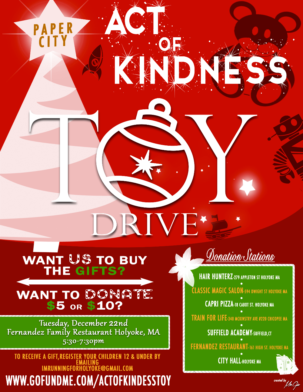 Holyoke Act of Kindness Toy Drive by Harry Melendez - GoFundMe