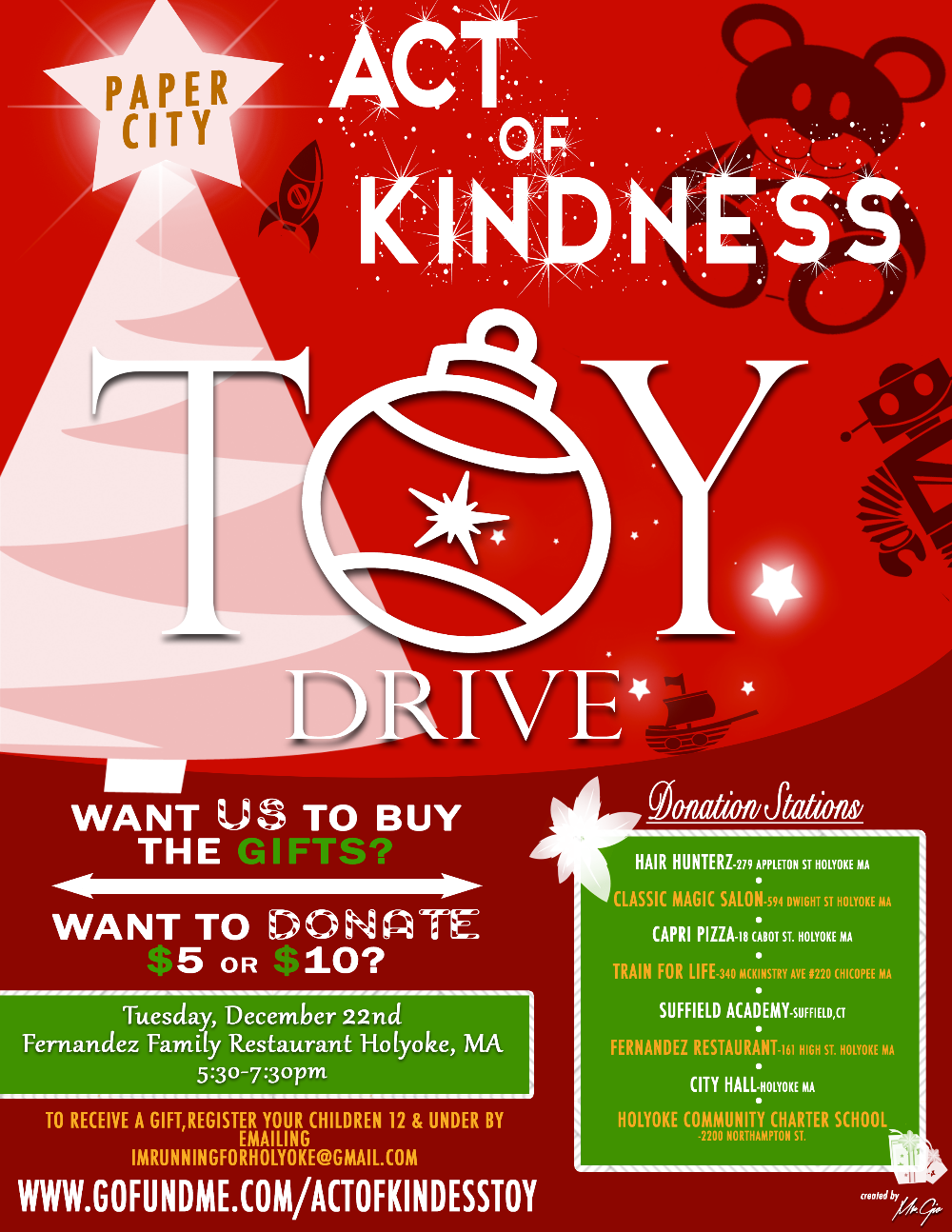 Announcement Email Sample Toys For Tots : Fundraiser by harry melendez holyoke act of kindness toy